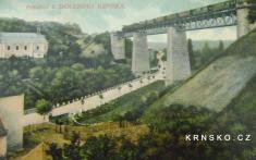 Dolení Krnsko,okr. Mladá Boleslav,.železniční most avlak,1910