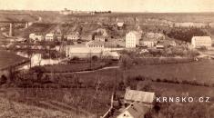 Krnsko cca 1880- zatím nejstarší fotka viaduktu spůvodními nosníky, která byla nalezena.