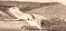 Krnsko cca 1865- výřez / železnice azářez veskále