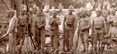 Stráž uželezničního mostu vKrnsku 1914, přivypuknutí války - výřez...